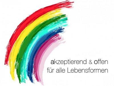 Regenbogen mit Text akzeptierend und offen für alle Lebensformen