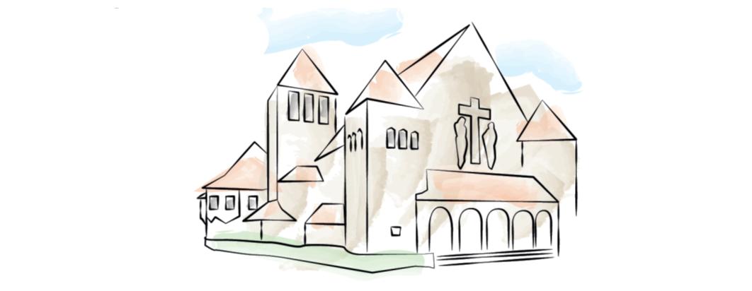 Aquarellzeichnung der Verklärungskirche